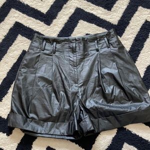 Elizabeth and James faux leather pleated shorts